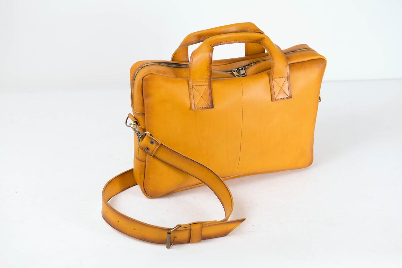 """Мужская сумка """"Модель №54"""" Кожа Итальянский краст цвет Янтарь"""