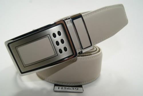 Ремень мужской кожаный с пряжкой автомат (бежевый) ALON
