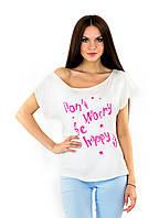 Белая летняя футболка на одно плечо