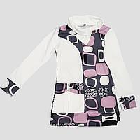 Трикотажная туника с шарфом для девочки 6-9 лет (белый с лиловым), фото 1