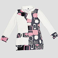 Трикотажная туника с шарфом для девочки 6-9 лет (белый с розовым), фото 1