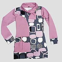 Трикотажная туника с шарфом для девочки 6-9 лет (лиловый), фото 1