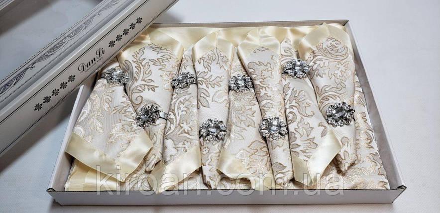 Святкова скатертина з атласною стрічкою по краю + 8 серветок з власниками в подарунковій коробці 150х220см, фото 2