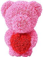 Мишка smart из роз c сердцем 60см Bear Flowers BS3 Pink (508243)