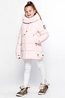 Детская теплая модная зимняя куртка для девочки с вязанными манжетами