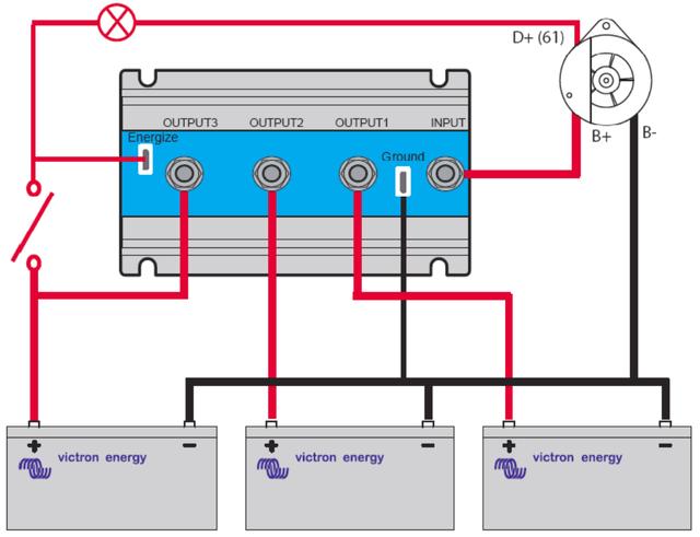 Схема підключення Argo FET Battery Isolators