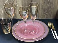 "Набор бокалов 4 шт  для вина ""Голд-Хаммерд"", 375 мл, 9AF9084B"