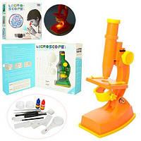 Микроскоп   20см, инструменты, линзы, свет, 2цвета, на бат-ке, в кор-ке, 28,5-29-9см