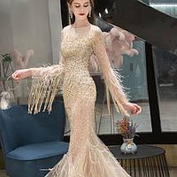 Свадебное Вечернее платье. Выпускное платье. Вечірня сукня. Платье рыбка ручной работы с рукавами