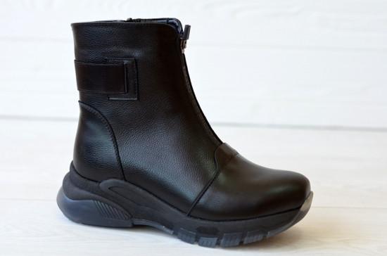 Ботинки женские кожаные демисезонные на утолщенной подошве
