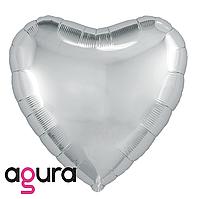 Фольгированный шар 9' Agura (Агура) Сердце серебро без клапана, 22 см