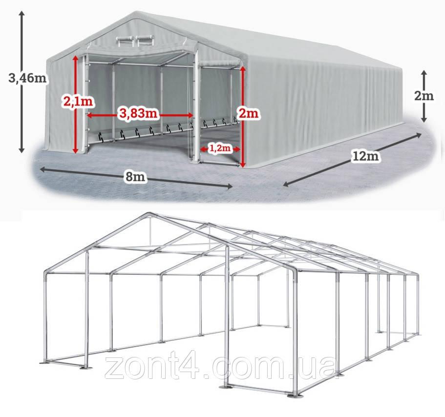 Шатер 8х12 метров ПВХ 600г/м2 с мощным каркасом под склад, гараж, палатка, ангар, намет, павильон садовый
