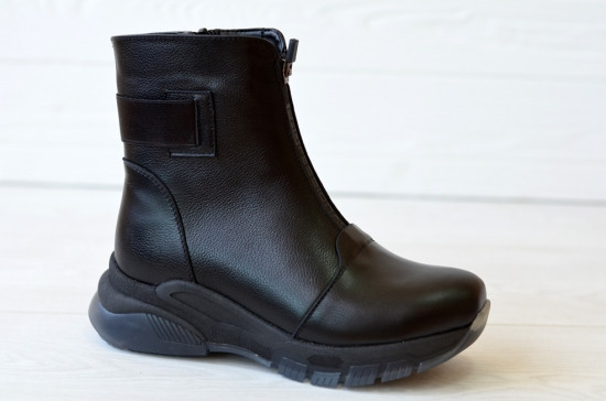 Ботинки женские зимние черные кожаные на утолщенной подошве