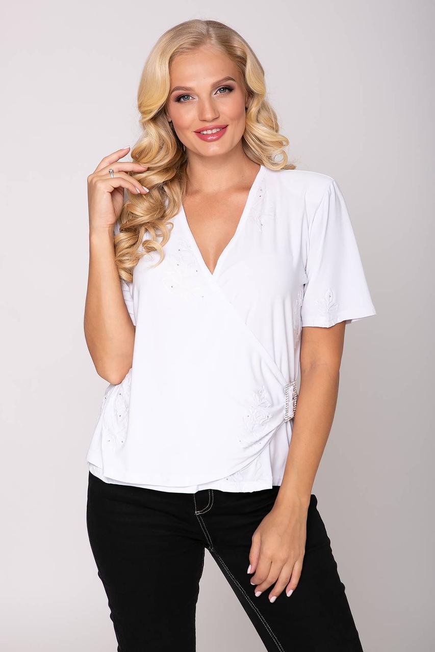 Однотонная блуза со стразами ЛЮБАВА белый (54-60)