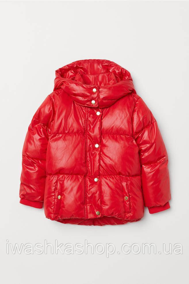 Яркая красная демисезонная куртка на девочку 4 - 5 лет, р. 110, H&M
