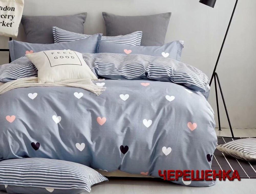 Семейный набор хлопкового постельного белья из Сатина №1907AB Черешенка™