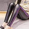 Женские лосины Yuetu утепленные из эко-кожи с фиолетовыми лампасами черные XL