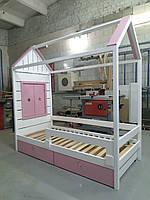 Ліжко будинок з вікном 80х160, ліжко дитяче із вільхи