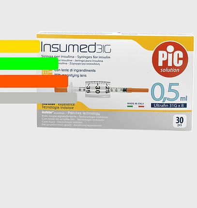 Шприц Инсумед -  Insumed для инсулина U-100 0,5мл*8мм, 31G (30 шт. в упаковке), фото 2