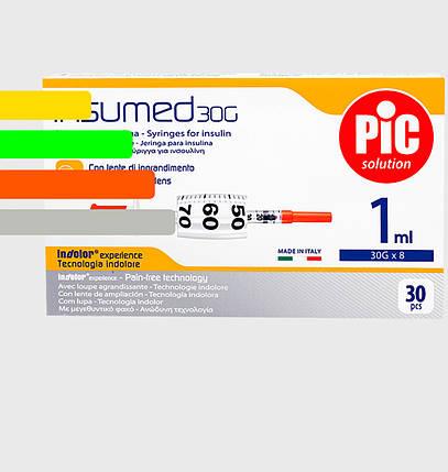 Шприц Инсумед - Insumed для инсулина U-100 1мл*8мм, 30G (30 шт. в упаковке), фото 2