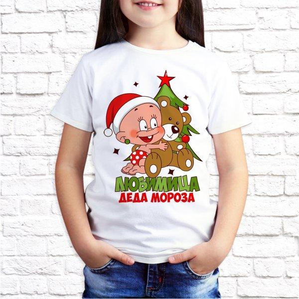 "Футболка для девочки Push IT с новогодним принтом ""Любимица Деда Мороза"""