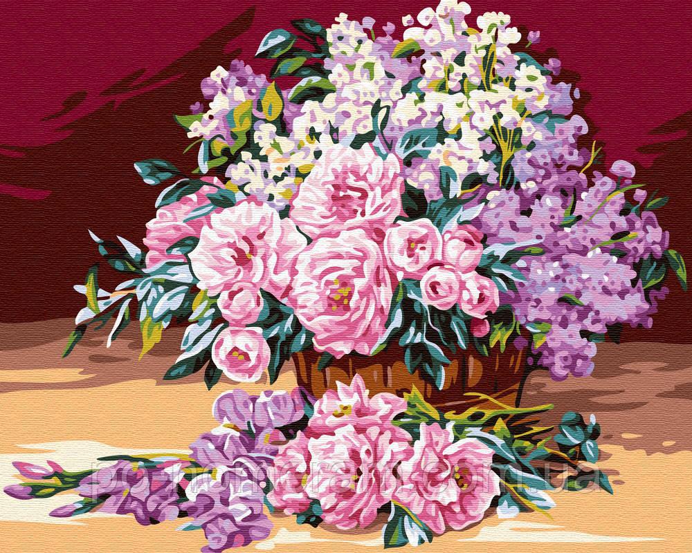 Раскраска для взрослых Корзинка роз (BK-GX24105) 40 х 50 ...