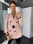 Женский стильный пиджак в полоску с поясом (в расцветках), фото 3