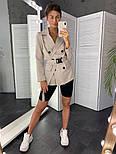Женский стильный пиджак в полоску с поясом (в расцветках), фото 10