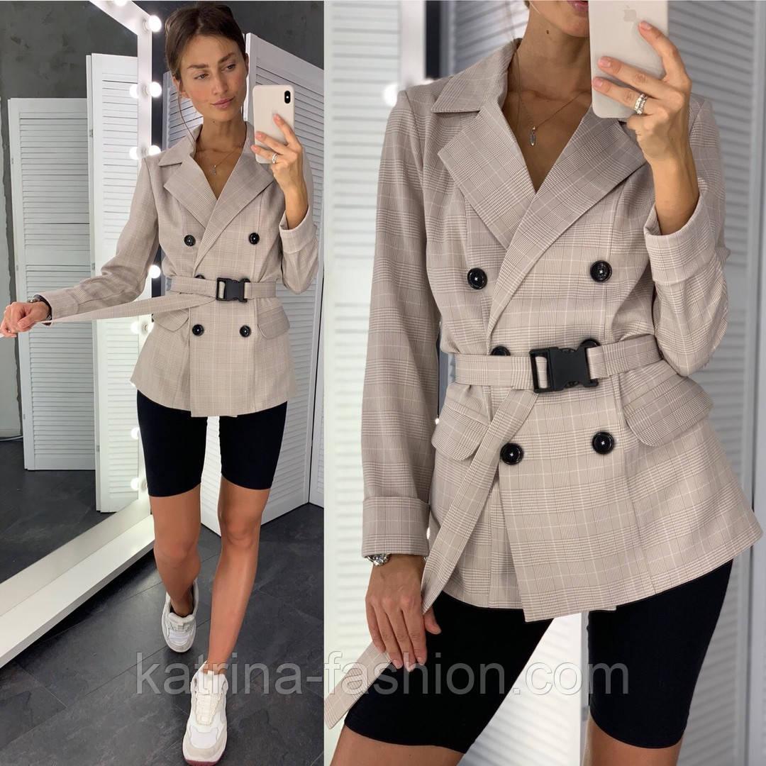Женский стильный пиджак в полоску с поясом (в расцветках)