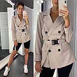 Женский стильный пиджак в полоску с поясом (в расцветках), фото 7