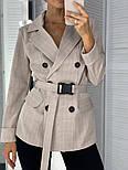 Женский стильный пиджак в полоску с поясом (в расцветках), фото 9