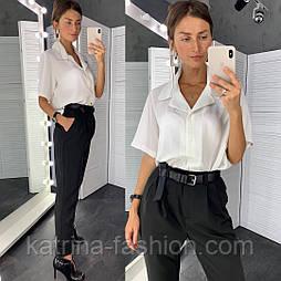 Женские стильные брюки с высокой посадкой и отдельно белая блуза-рубашка (в расцветках)
