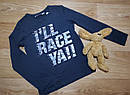 Черный хлопковый реглан на мальчика с надписью I'll RACE YA!!! H&M (Англия) (Размер 6-8Т), фото 2