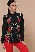 Жіноча блуза до довгого рукава з креп-шифону, фото 1