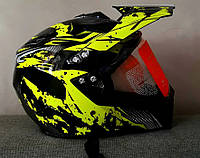 Шлем кроссовый чёрно салатовый Эндуро c визиром