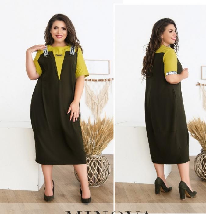 Платье миди в большом размере цвета: фисташковый Размеры  52,54,56,58