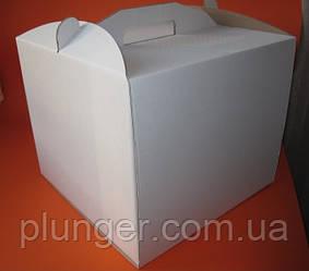 Коробка картонна для торта біла, 25 см х 25 см х 15 см, мікрогофрокартон (25Т)