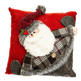 Новогодняя подушка Дедушка Мороз 33*33*12 см (037NC)