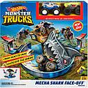 Трек Хот Вилс Опасное противостояние Hot Wheels Monster Trucks Mecha Shark Face-off Playset, фото 10