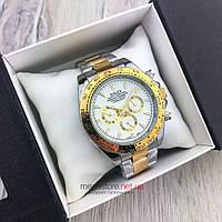 Мужские механические часы Rolex Daytona Cosmograph 42 mm золото-серебро с белым циферблатом(08153) копия, фото 1