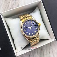 Женские кварцевые часы Rolex Perpetual Date Just золото с фиолетовым циферблатом (08159) копия, фото 1