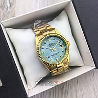 Женские кварцевые часы Rolex Perpetual Date Just золото с бирюзовым циферблатом (08164) копия, фото 1