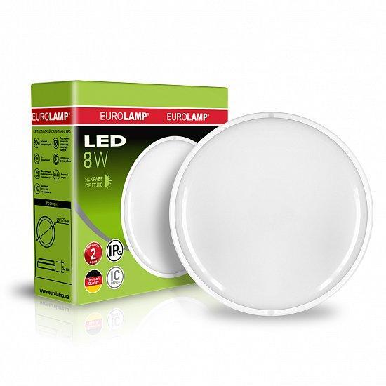 Светодиодный LED cветильник EUROLAMP круглый накладной ЖКХ IP65 8W 5500K