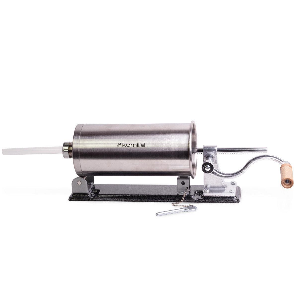 Шприц для начинения ковбас Kamille KM-6502 з нержавіючої сталі з силіконовими насадками 15см 19см 22см 25см