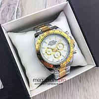 Мужские механические часы Rolex Daytona Cosmograph 42 mm золото-серебро с белым циферблатом(08153) копия