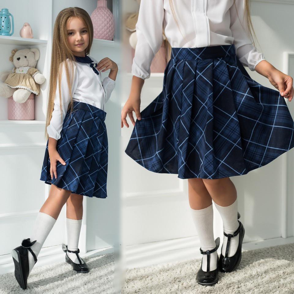 """Детская стильная юбка 643 """"Клетка Клёш Складки"""" в школьных расцветках"""