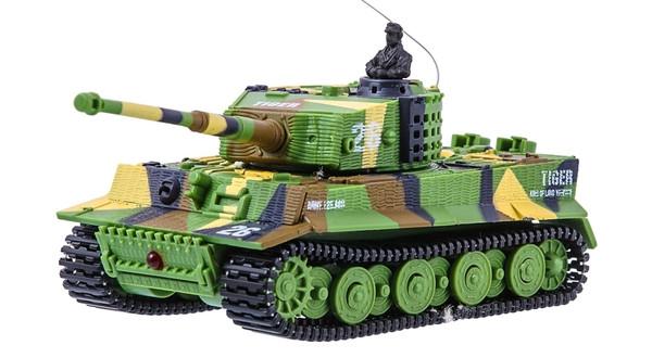 Микро танк на радиоуправлении Tiger в масштабе 1:72 (зеленый хаки)