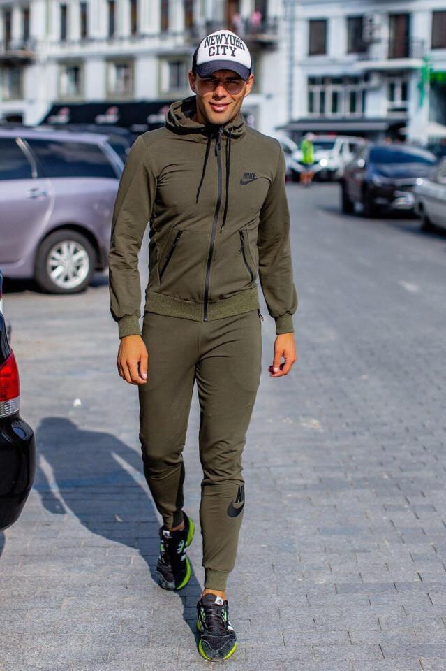 Костюм спортивный мужской из двунитки с капюшоном Найк Копия (К28717)