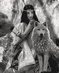 Раскраска для взрослых Волчица (KHO4139) 40 х 50 см Идейка [Без коробки]