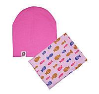 Комплект шапка и шарф-хомут с узором
